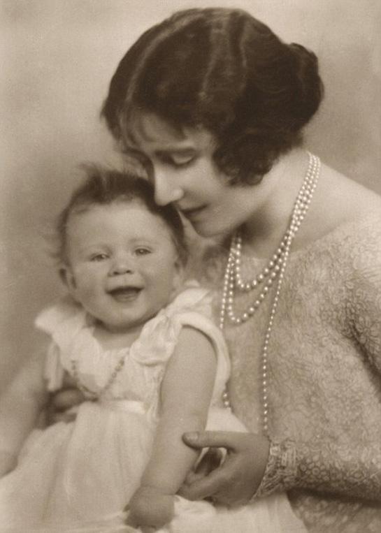 Infant Queen Elizabeth and the Queen Mum