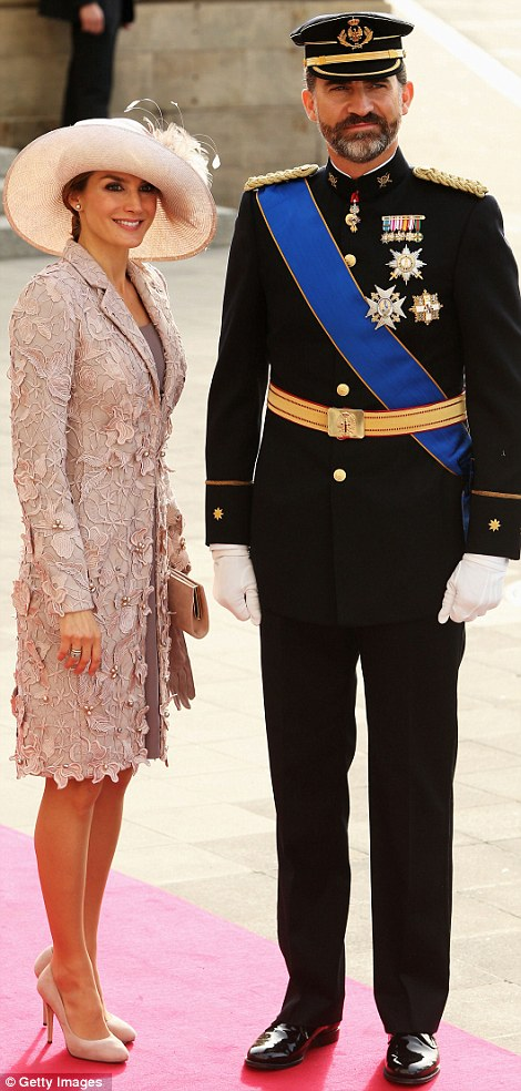 Crown Prince Felipe of Spain and Princess Letizia of Spain attending the wedding ceremony