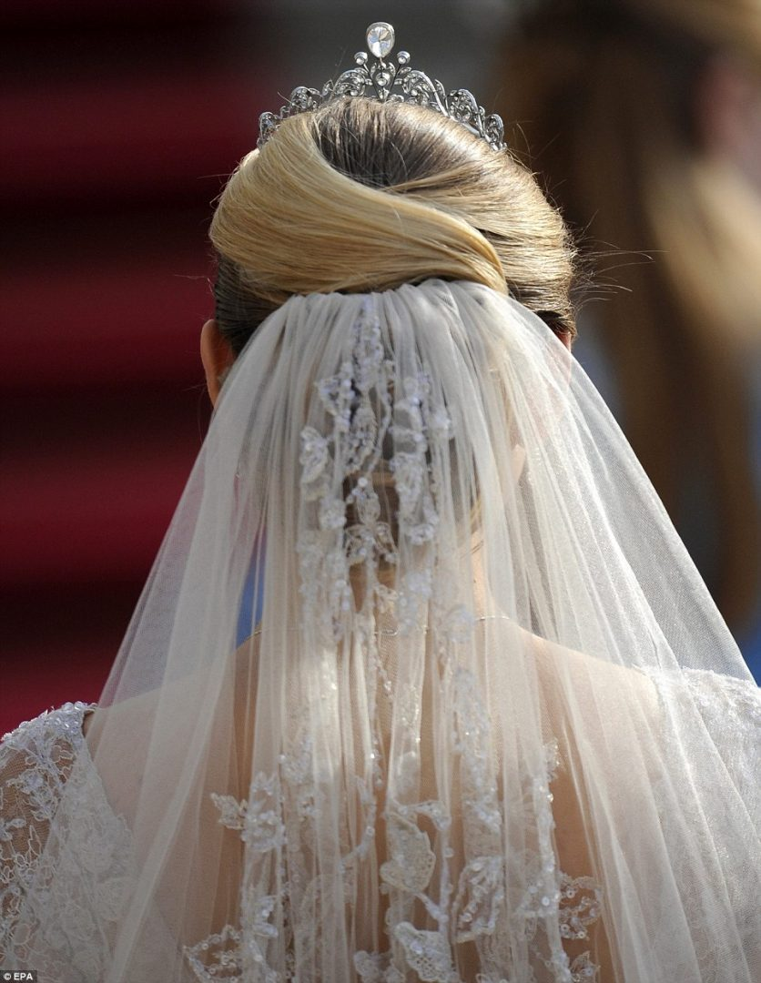 A close-up view of Stephanie's hair and veil