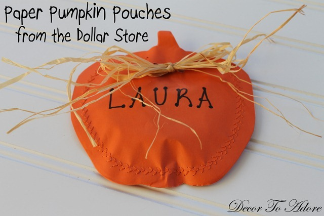 Day 26 ~ Paper Pumpkin Candy Pouches from the Dollar Store