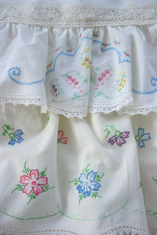 Embroidered pillowcase apron