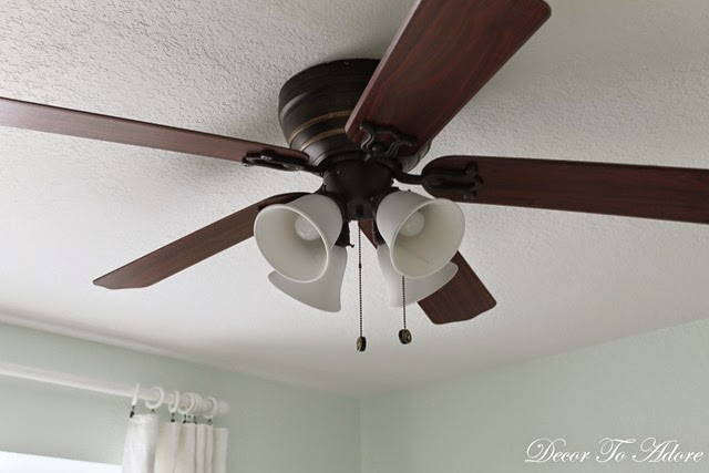 A Quick And Easy Ceiling Fan Update Spray Painting Glass Light Shades Decor To Adore