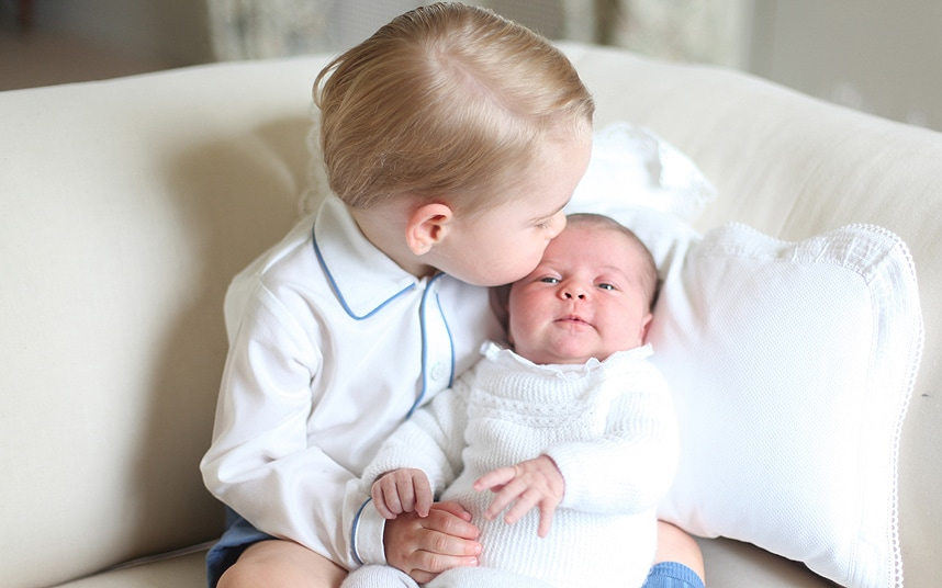 Prince George and Princess Charlotte. The photograph was taken by the Duchess in mid-May at Anmer Hall in Norfolk. (Photographer: The Duchess of Cambridge)