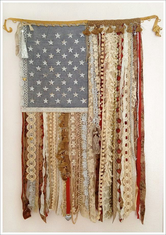 4th of July decor - ribbon and lace American flag. Perfect for above my console table in front entry way.