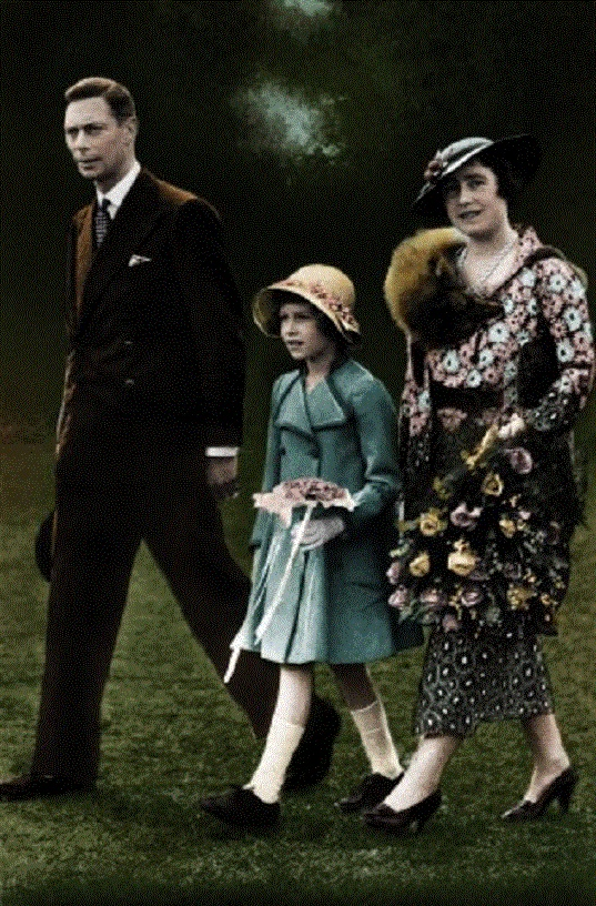 The Royal Family, after King George VI 's Coronation. Shows King George VI with the Queen Mother, and Queen Elizabeth (then H. R. H. The Princess Elizabeth)