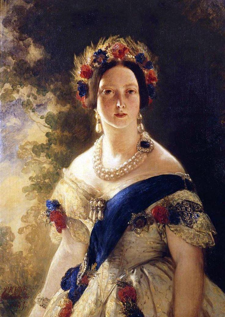 Only child of Prince Edward Augustus Duke of Kent (1767–1820) & Princess Victoria (Marie Luise Viktoria) (1786–1861) of Saxe-Coburg & wife of Prince Albert of Saxe Coburg and Gotha (1819-1861). Queen Victoria (1819-1901) by Franz Xaver Winterhalter in 1845.