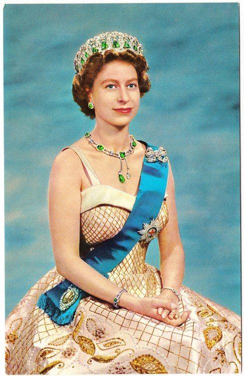 Queen Elizabeth II I believe it is Queen Mary's Vladimir Tiara (which can be worn with pendant emeralds)