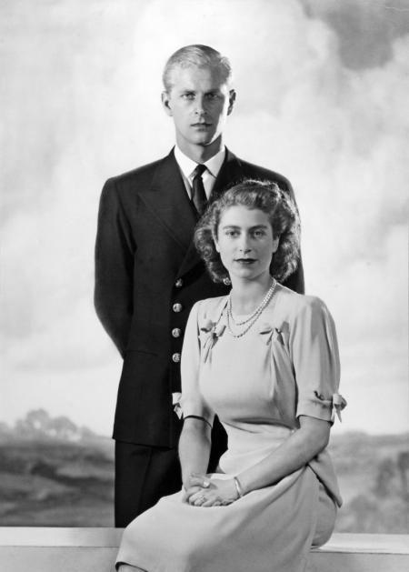 Princess Elizabeth, 21, and Philip Mountbatten, Duke of Edinburgh, 26, in their 1947 engagement photo.: