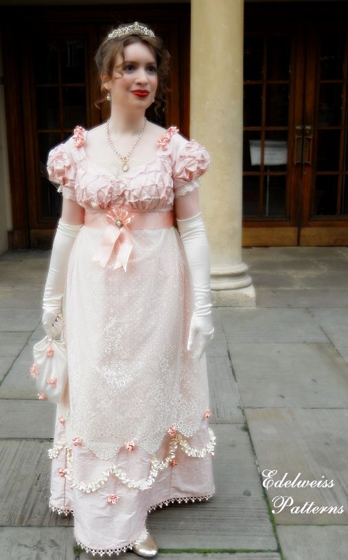 The hand sewn Regency silk ball gown, by Edelweiss Patterns.