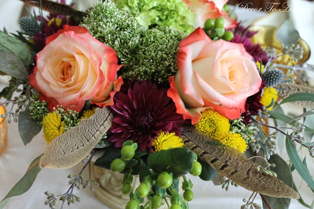 Fall centerpiece with feathers