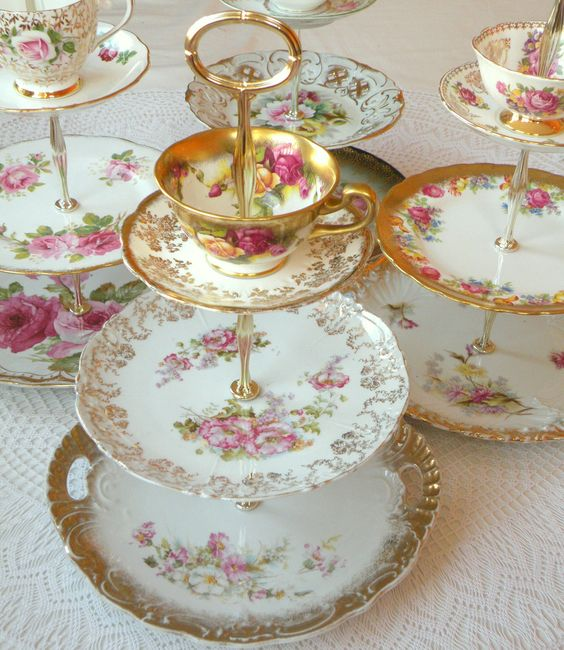 A group of our High Tea for Alice 3-tiered rental tea stands, cake plates and cupcake towers with cup and saucer available for rent in Orange County, Southern California and beyond for weddings, bridal teas, baby showers, princess birthday parties and more