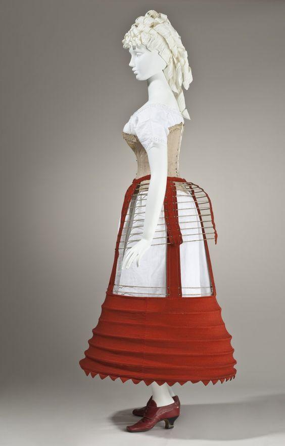 1862-1870 English Woman's Bustle Cage Crinoline