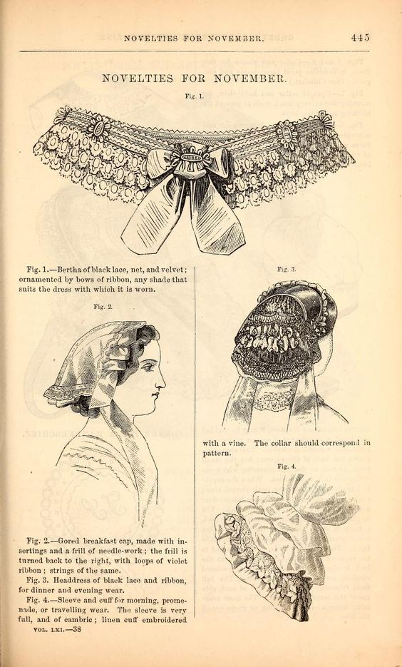 1860 Godey's. Left, gored breakfast-cap with insertion and needlework