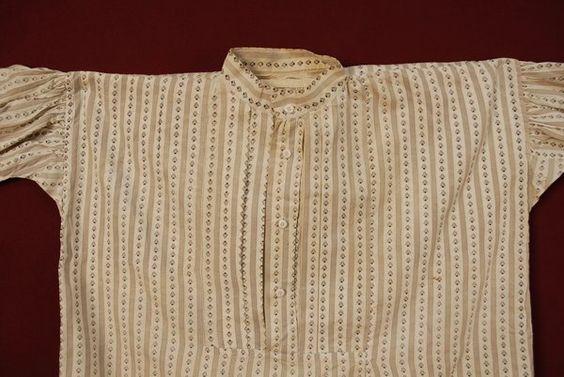 Men's calico shirt, 1850-60: