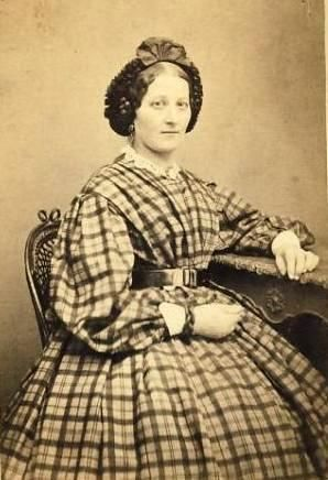 Lady in an even plaid dress. Bishop sleeves, pleated bodice, pleated skirt and hairnet
