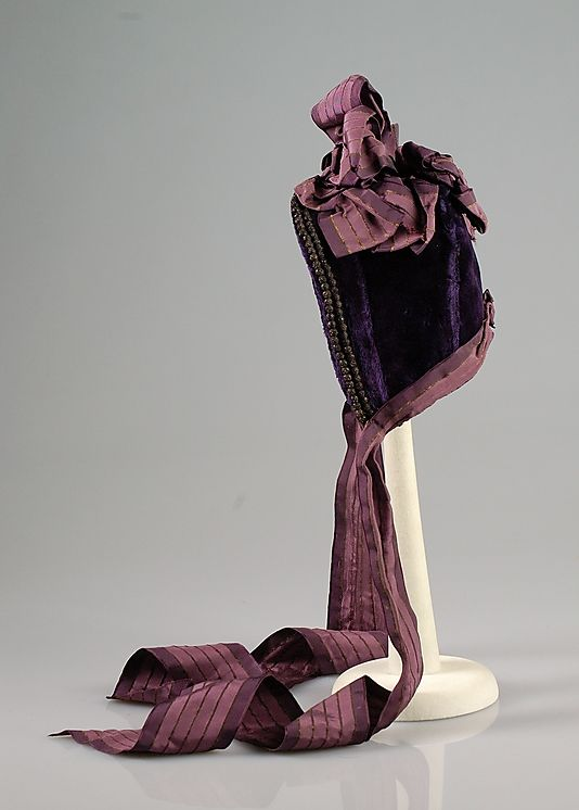Beaded purple velvet bonnet with deep mauve silk ribbon trim, by Mrs. M. Courtney, American (Brooklyn), ca. 1870.