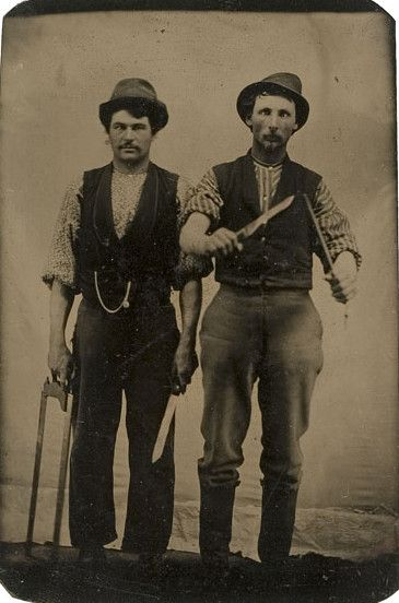 Tintype portrait of two butchers wielding knives. ca.1860-1880.  via Cowan's Auctions: