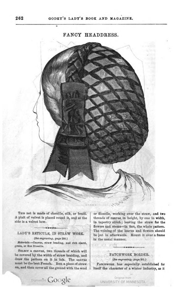 1860 Godey's. Net headdress of chenille, silk, or braid, with velvet plait