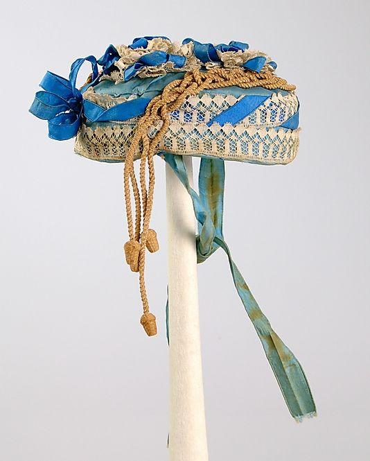 1865 Bonnet silk, linen, & straw. American at The Metropolitan Museum of Art