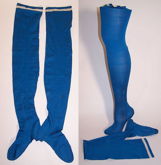 Victorian Ladies Bright Blue Silk Seam Thigh High Garter Stockings Socks.