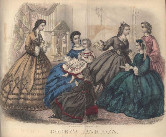 Civil War Era Fashion Plate - October 1863 Godey's Lady's Book