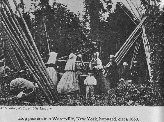 civil war era work dresses with hoops, slat & corded bonnets