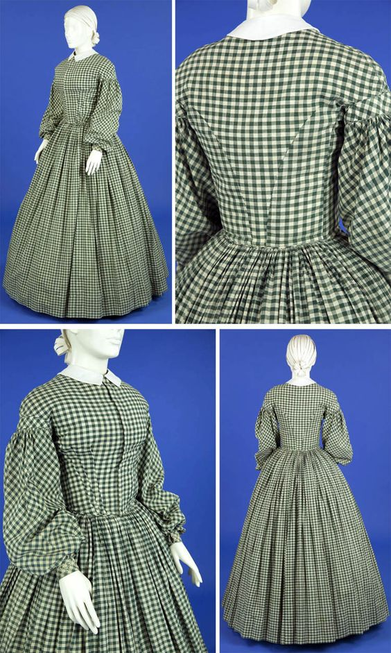 Green and white gingham check hand-sewn cotton dress, ca. 1860-65. Ohio State