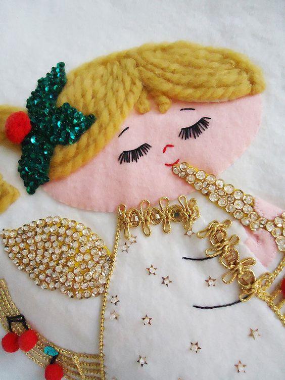 vintage felt bead and sequin tree skirt - table topper - 60s - musical noel angel -