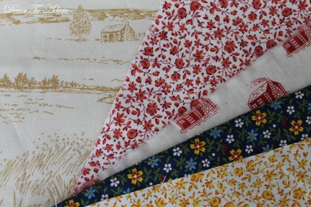 Log Cabin Pillow fabrics