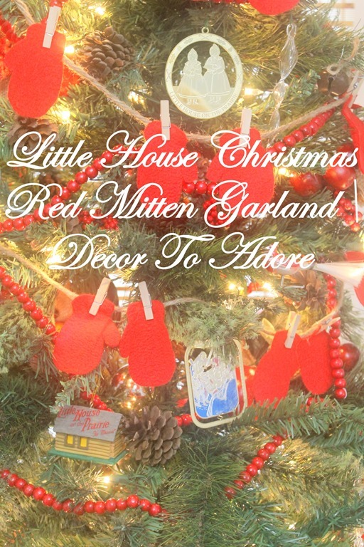 A Little House Christmas Red Mitten Garland