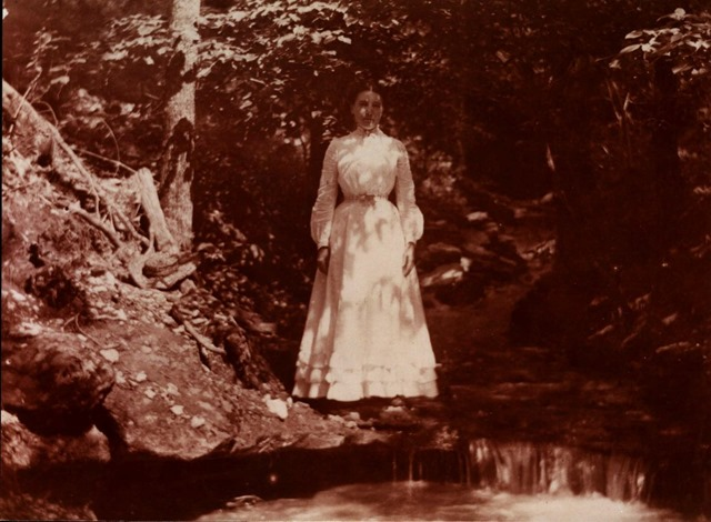 Laura Ingalls Wilder at age 30 in 1900 on Rocky Ridge Farm.