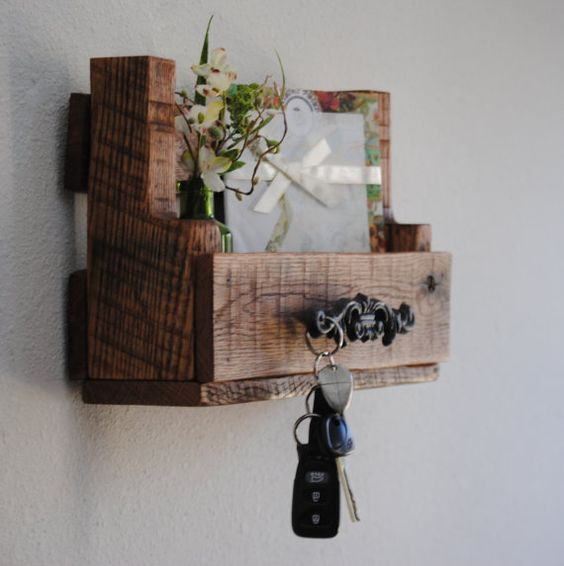 Shelf - Mail Organizer - Rustic - Natural - Pallet - Home Decor - Made to Order $33: