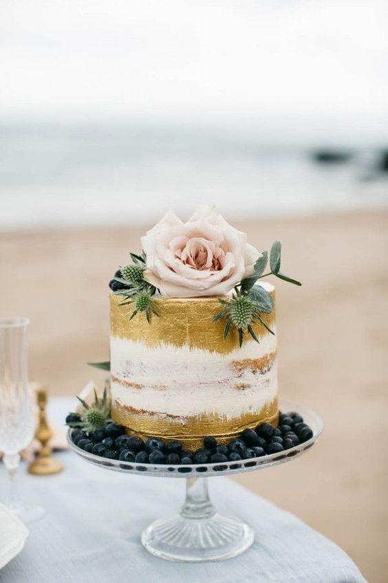 semi naked gold painted wedding cake idea for Irish spring wedding: