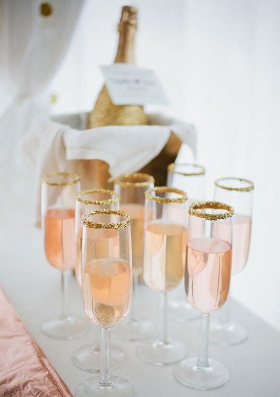 Rose and Gold / Champagne Drink with Gold Sugar Rim: