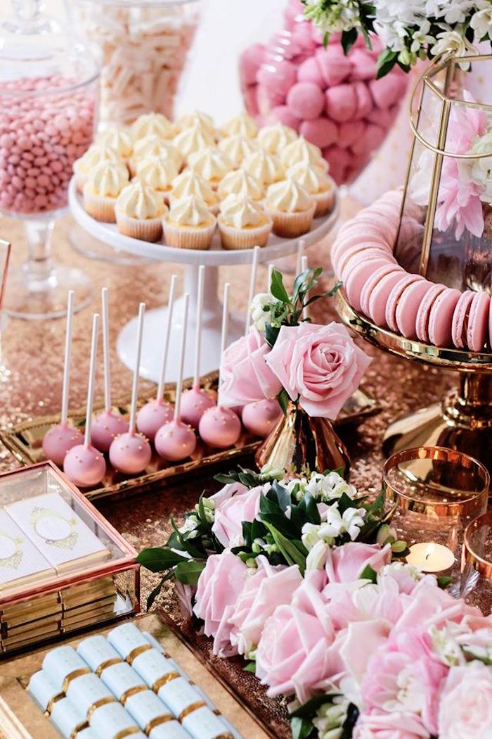 Sweets + Decor from a Copper, Pink & Gold Princess Party via Kara's Party Ideas   KarasPartyIdeas.com (11)