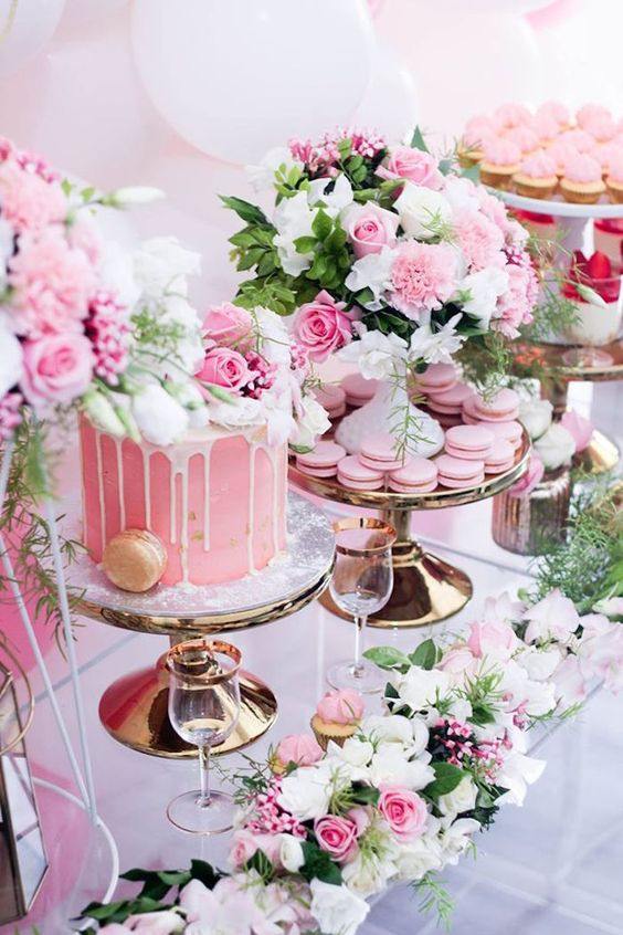 Cake + Sweets + Florals from a Pink + White & Gold Garden Party via Kara's Party Ideas | KarasPartyIdeas.com
