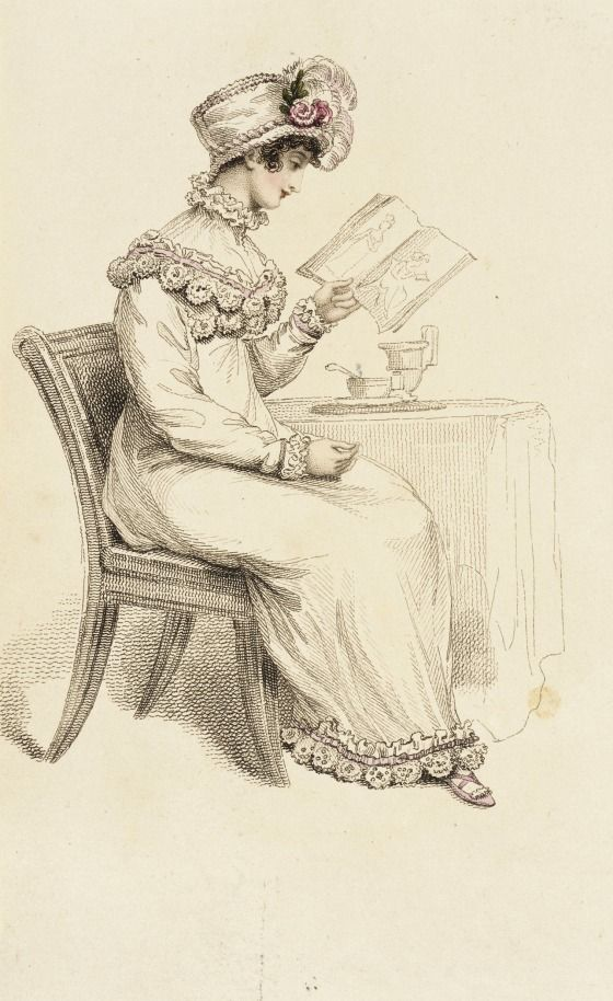 Morning dress, fashion plate, hand-colored engraving on paper, published London, July 1815.